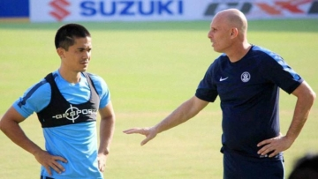 India football coach Stephen Constantine (right) with Sunil Chhetri