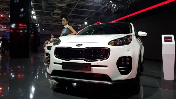 A Kia model at display at the Auto Expo.