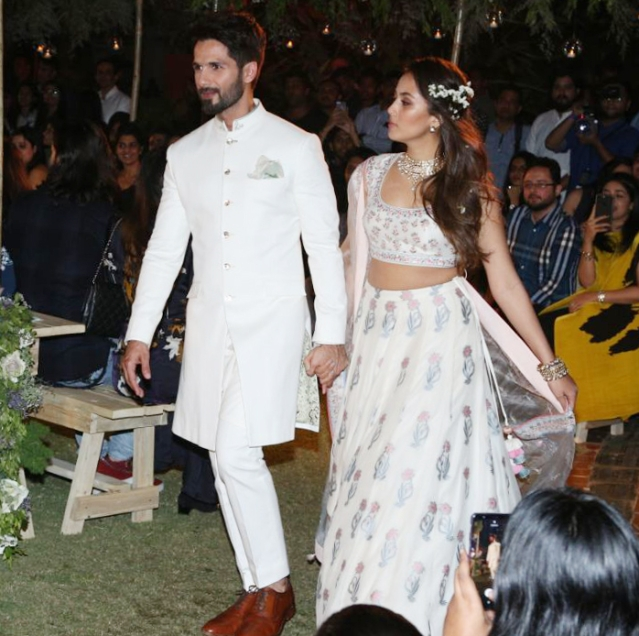 Shahid and Mira recreate a white wedding for designer Anita Dongre.