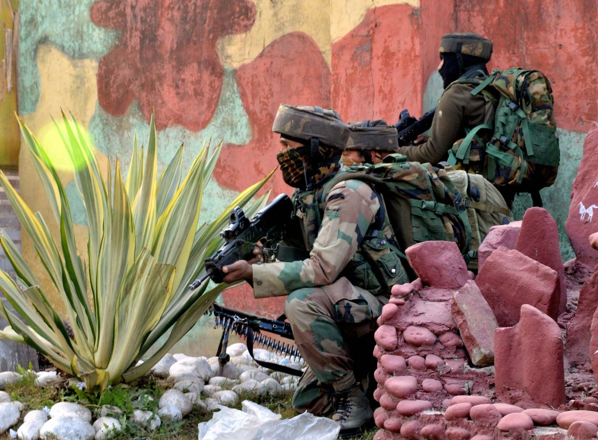 Security personnel on alert after the Sunjwan terror attack in Jammu.