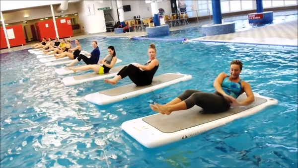 Float Fit Aerobics involves performing aerobics while balancing on floats