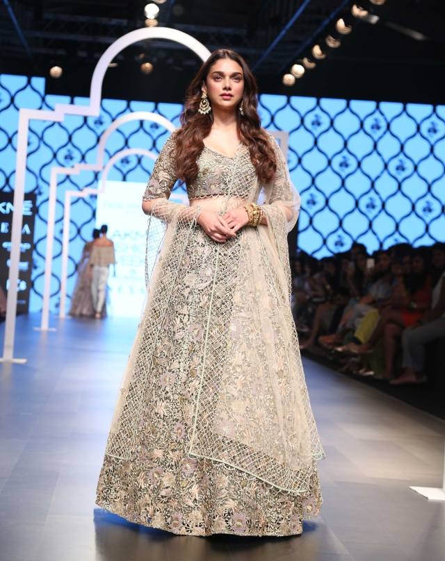 Aditi Rao Hydari flaunts an exquisite creation by Payal Singhal.