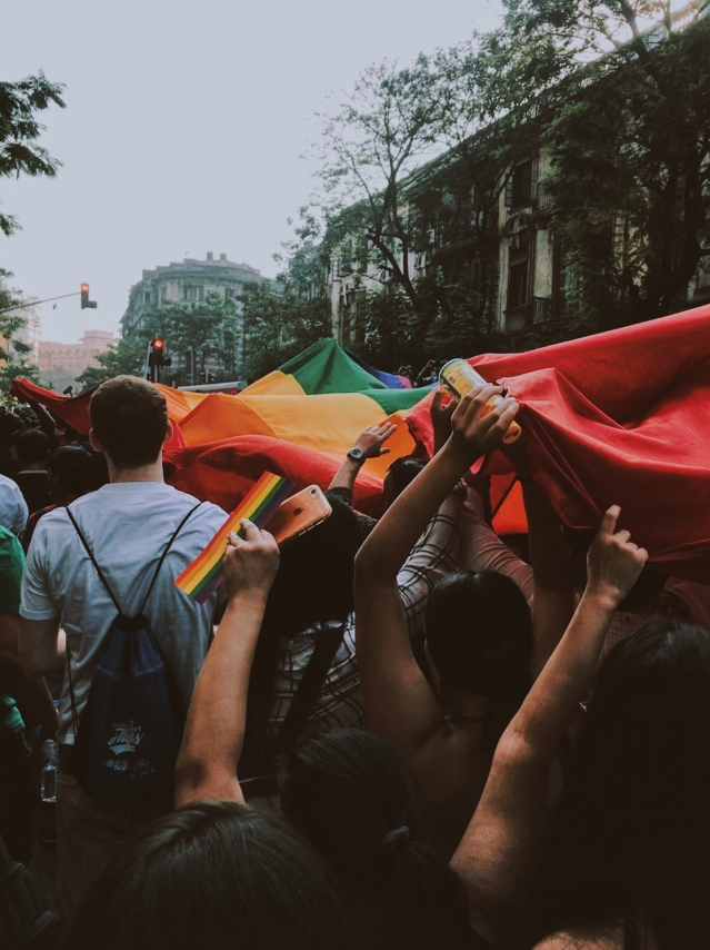 People carry the giant LGBTQI rainbow flag at the Mumbai Pride Parade 2018.
