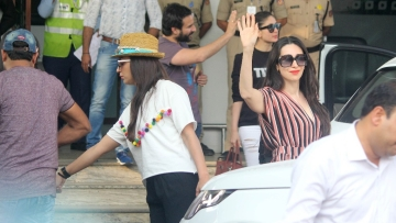 Karisma Kapoor, Saif Ali Khan and Kareena Kapoor were spotted outside the airport.