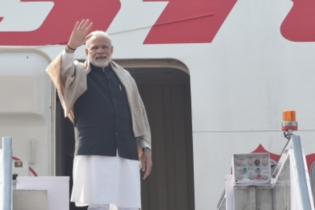 New Delhi: Prime Minister Narendra Modi departs from New Delhi for his three-nation visit to Palestine, UAE and Oman on Feb 9, 2018. (Photo: IANS/MEA)