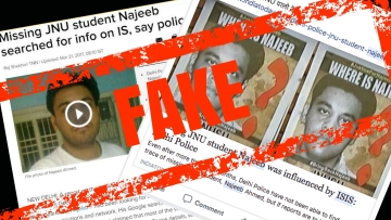 "Some people are sharing a 2017 report of <a href=""https://timesofindia.indiatimes.com/city/delhi/missing-jnu-student-najeeb-searched-for-info-on-is-say-police/articleshow/57740974.cms"">The Times of India</a> insinuating that Najeeb could be an ISIS sympathiser."