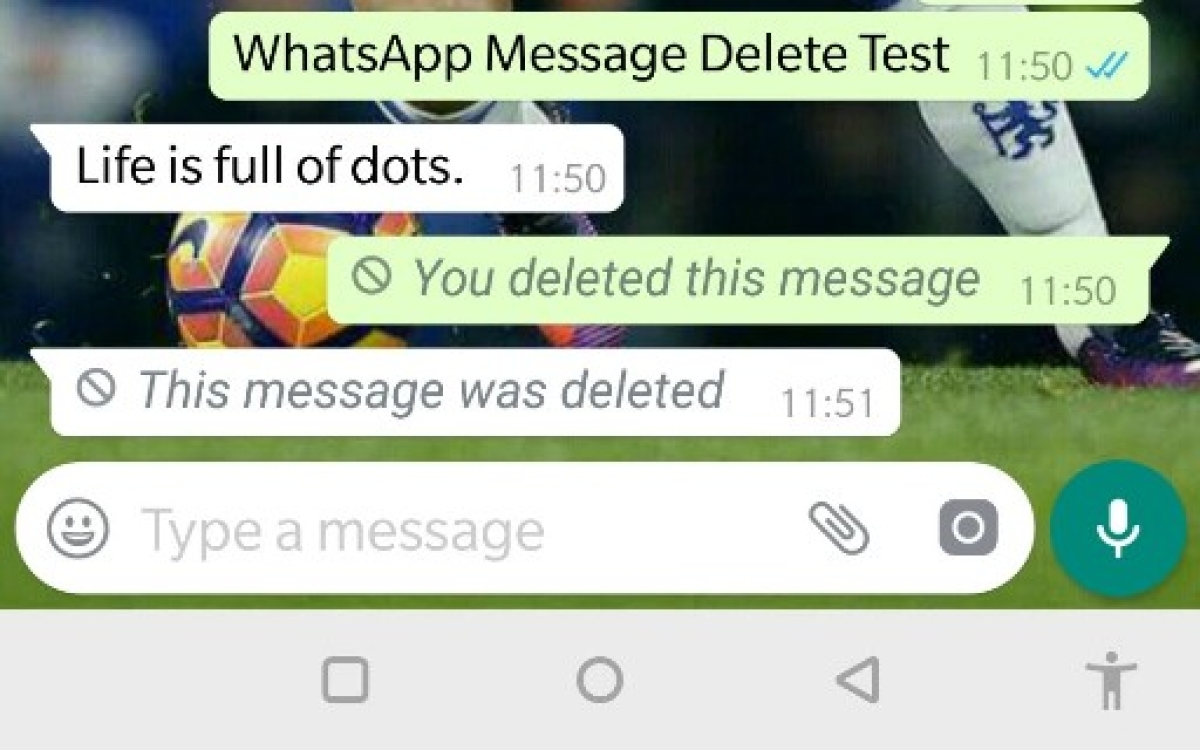 WhatsApp screenshot of the sender showing WhatsApp message deleted completely