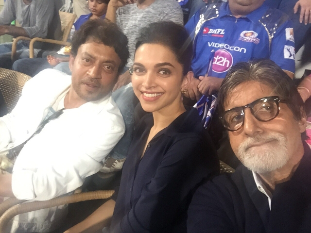 Irrfan Khan and Deepika Padukone with Amitabh Bachchan.