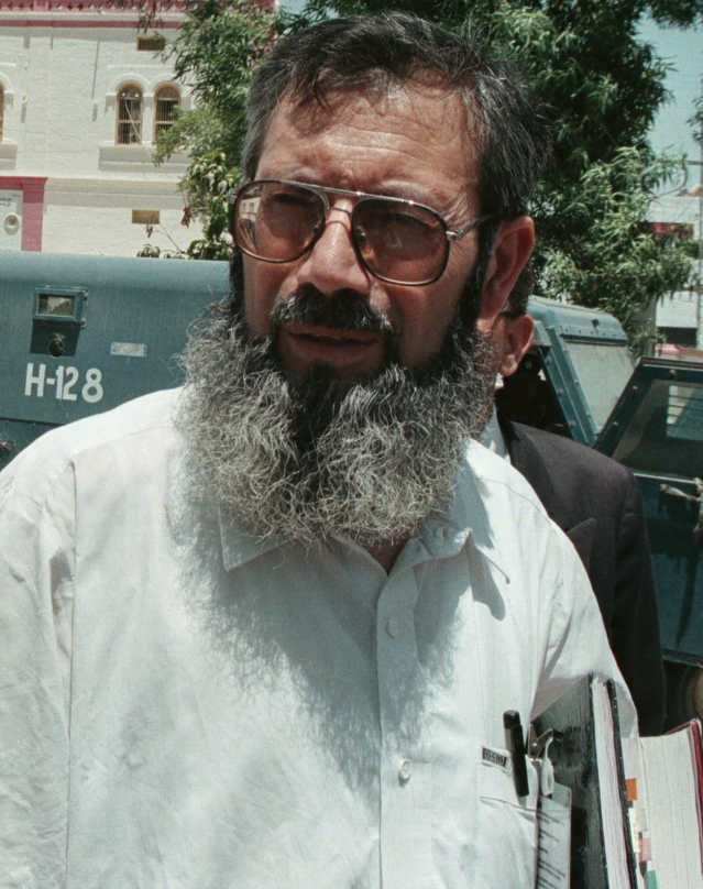 Sheikh Ahmed Saeed, Ahmed Omar Saeed Sheikh's father after a trial hearing in  Hyderabad in 2002.