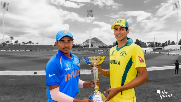 India captain Prithvi Shaw and Australia skipper Jason Sangha ahead of the Under-19 World Cup final.