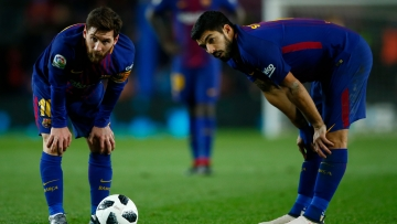 FC Barcelona's Lionel Messi and Luis suarez during the Spanish Copa del Rey, semifinal, first leg.