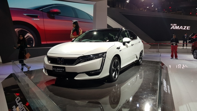 The Honda FCX Clarity is a fuel-celled car, which runs on hydrogen, another alternative fuel source.