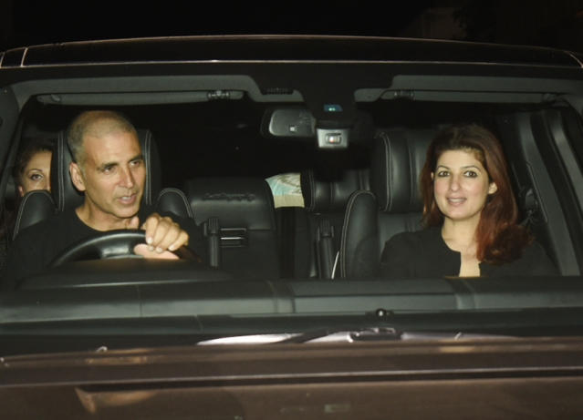 Hosts Akshay Kumar and Twinkle Khanna exit after the screening of their film.