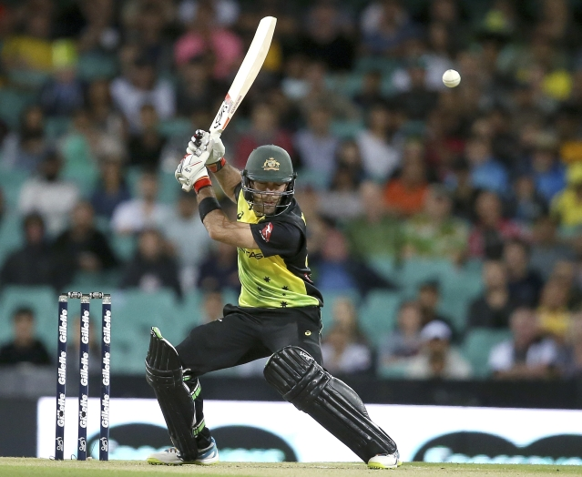 Glenn Maxwell leaves a delivery during the second tri-series Twenty20 International.
