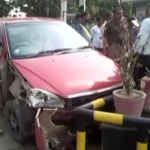Amature Driver's Speeding Car Rams Into a Petrol Pump in UP