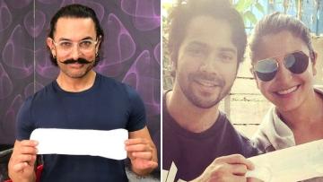 Aamir Khan, Varun Dhawan and Anushka Sharma take the #PadManChallenge.