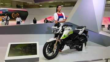TVS showcased an ethanol-powered Apache 200 at the Auto Expo.