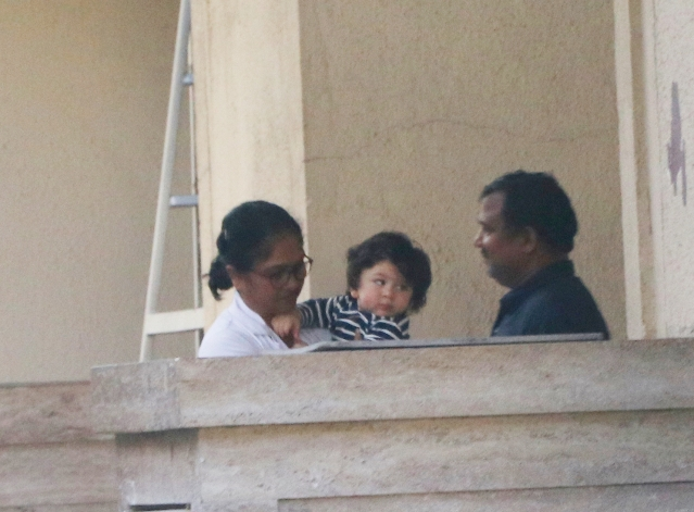 Taimur Ali Khan was spotted at Amrita Arora's residence.
