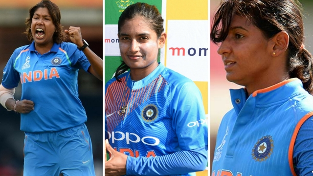 File pictures of Jhulan Goswami (left), Mithali Raj (centre) and Harmanpreet Kaur.