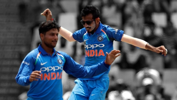 Kuldeep Yadav and Yuzvendra Chahal during India's second ODI against South Africa.