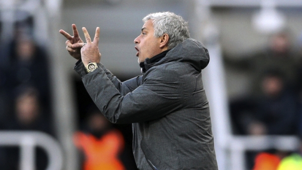 Manchester United manager Jose Mourinho gestures on the touchline during their match against Newcastle United at St James' Park