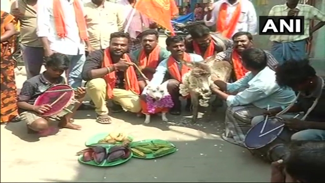 Bharat Hindu Front workers got a dog married to a donkey in protest against Valentine's Day. It is not clear what the logic is.