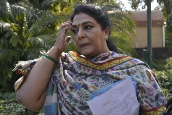 New Delhi: Congress MP Renuka Chowdhury arrives at Parliament on Feb 7, 2018. (Photo: IANS)