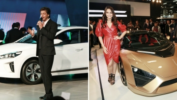 Sonakshi Sinha and Shah Rukh Khan at auto expo in Delhi.