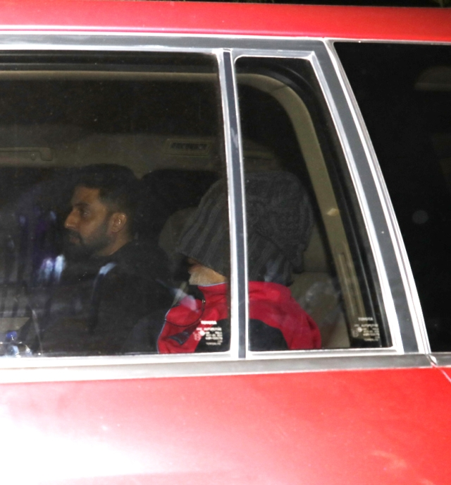 Abhishek Bachchan and Amitabh Bachchan in the vicinity of Lilavati Hospital.