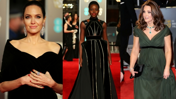 Angelina Jolie, Lupita  Nyong'o and Kate Middleton on the Bafta 2018 red carpet.