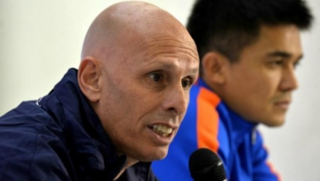 File picture of Indian football coach Stephen Constantine (left) with Indian football captain Sunil Chhetri.