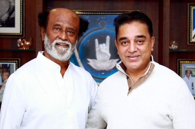 Rajinikanth with Kamal Haasan.