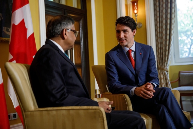 Prime Minister Justin Trudeau meets with the Chairman of Tata Sons, Natarajan Chandrasekaran