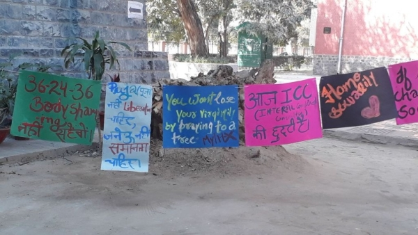 Posters protesting the virgin tree ritual conducted inside the Delhi University's Hindu College every Valentine's Day.