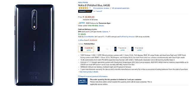 Nokia 8 gets a big drop, selling on Amazon also.