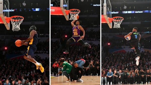 Action from the NBA All Star slam dunk contest on Saturday.