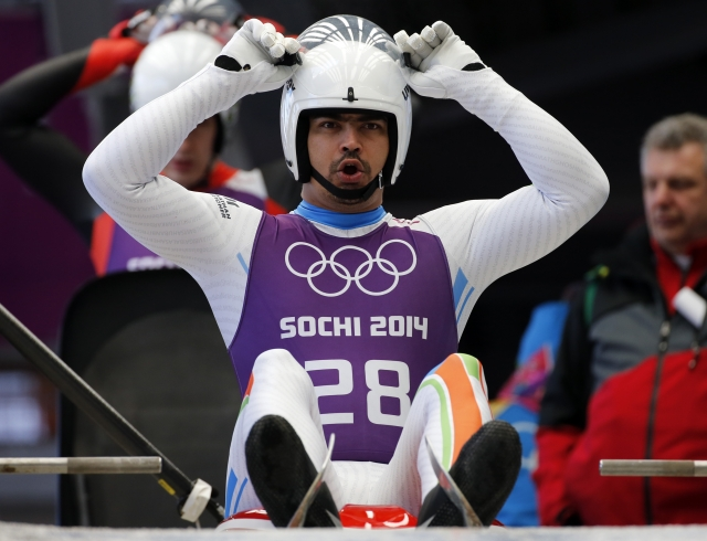 Shiva Keshavan competes at the Sochi Winter Games.