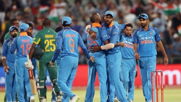 India celebrate the win during the 3rd One Day International match between South Africa and India held at the Newlands Cricket Ground in Cape Town, South Africa on the 7th February 2018
