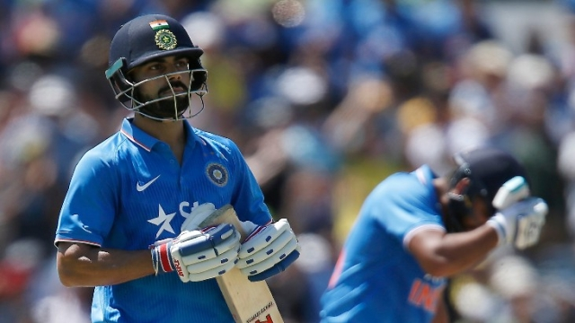Virat Kohli reacts after being dismisses during an ODI.