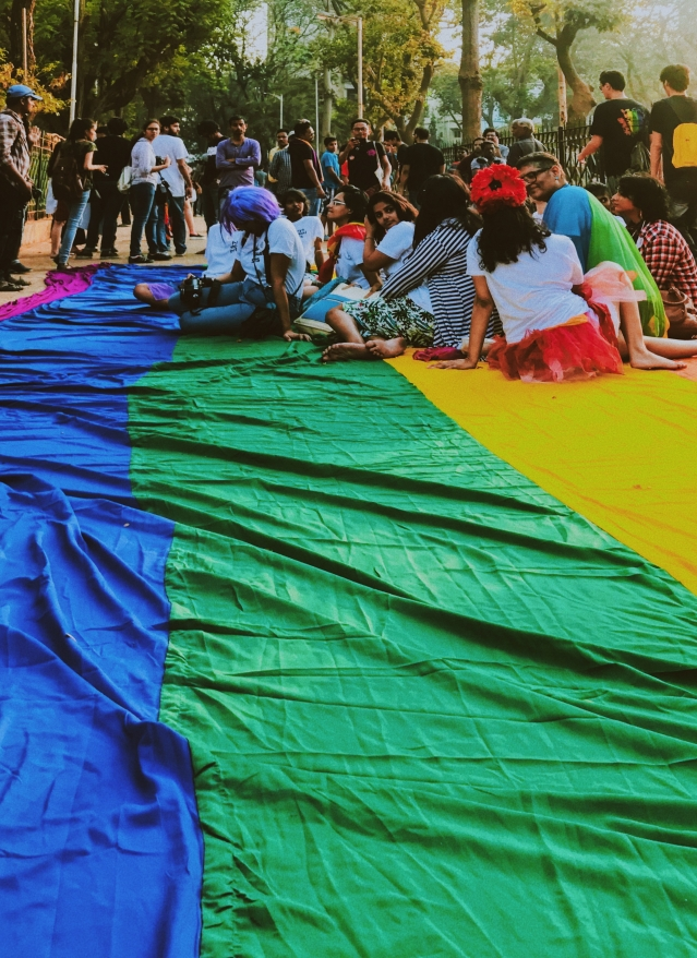 Protestors take a break during the Mumbai Pride March 2018.