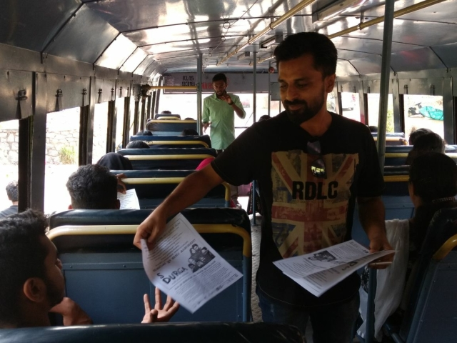 Kannan shows off his marketing skills in a public bus.