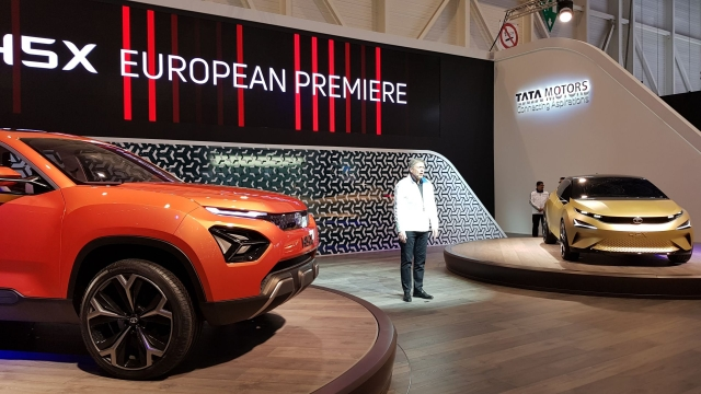 The Tata 45X hatchback (right) and H5X SUV at the Geneva Motor Show.