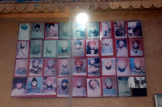 Photographs of those who were  killed in the massacre.