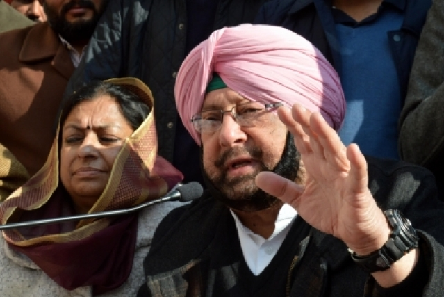 File photo of  Amrinder Singh addresses a press conference in Amritsar, on Jan 19 2017.