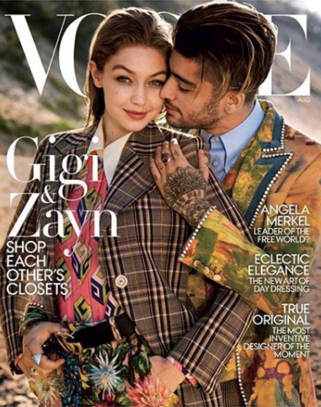 Zayn Malik and Gigi Hadid on the cover of <i>Vogue.</i>