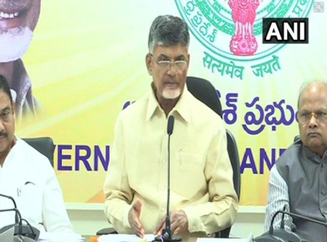 Andhra Pradesh Chief Minister Chandrababu Naidu addressing a press conference on Wednesday.