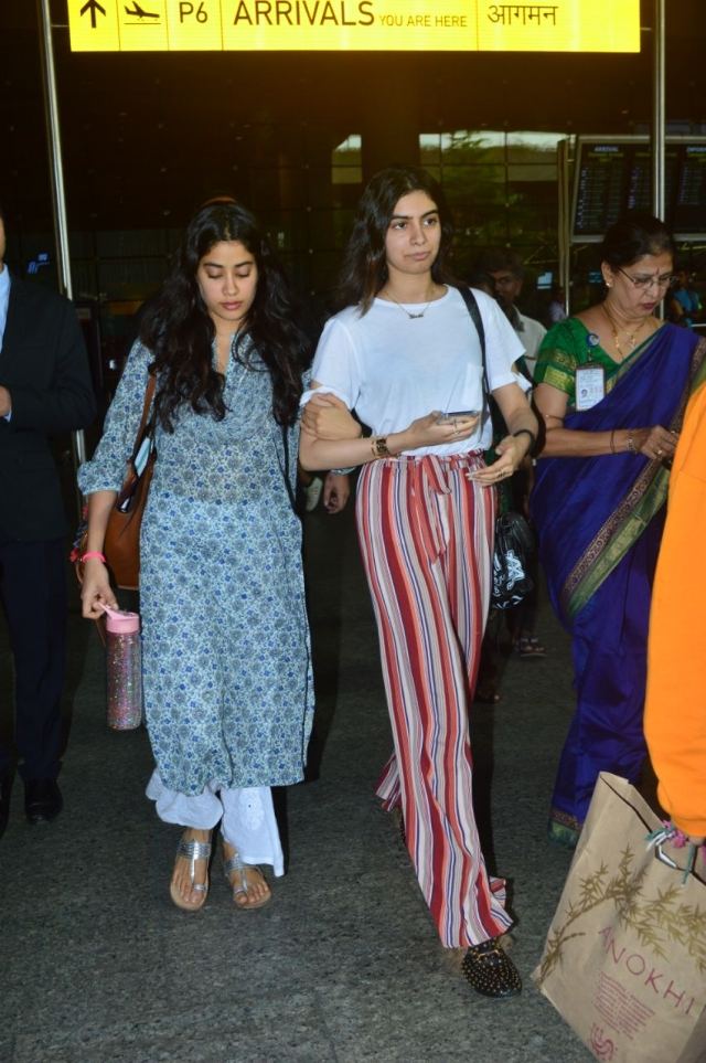 Janhvi and Khushi Kapoor arrive in the city after the prayer meet in Chennai for Sridevi.