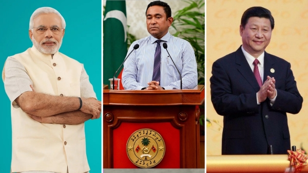PM Narendra Modi(left), Maldivian President Abdulla Yameen(center) and Chinese President Xi Jinping(right)
