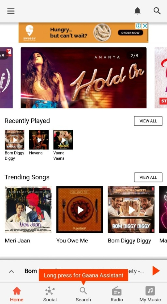 The Gaana music app comes with its own voice assistant called Gaana Assistant.