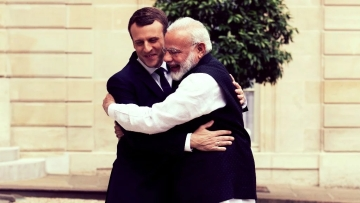 French President Emmanuel Macron (L) welcomes Indian Prime Minister Narendra Modi, before their meeting at the Elysee Palace in Paris, France on 3 June 2017. Image used for representational purposes.